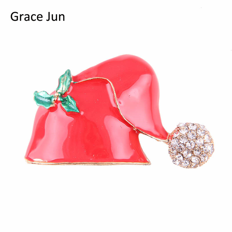 Grace Jun Korea Style Red colors Enamel Rhinestone Cute Santa Claus Hat Brooches for Christmas Accessorey Brooch Pins 2017 New