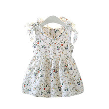 Girls Dress Summer Girl Party Dresses Kid Princess Party Clothes Sleeveless Ribbons Bow Floral Vest Dress Princess Roupa Infanil