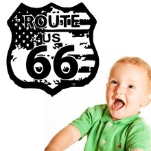 Route 66 Road Sign United States Flag Vintage Wall Graphic Decal Sticker Vinyl Mural Leaving Bedroom Room Home Decor NY-413