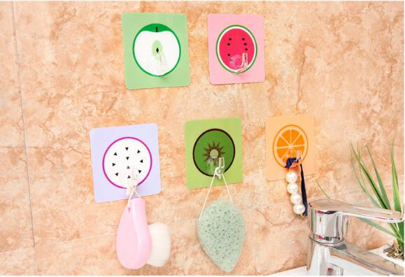 1PC Creative Cartoon Fruit Shape Nail Free Traceless Viscose Door Rear Hook Kitchen Bthroom Wall Storage Shelf ELF 046 ...