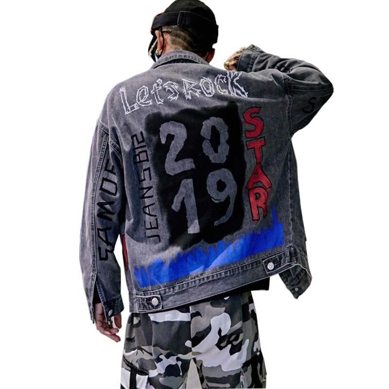 Mcikkny personnalité hommes rue porter Denim Jeans printemps automne broderie Jeans peints vestes Hip Hop manteaux pour homme