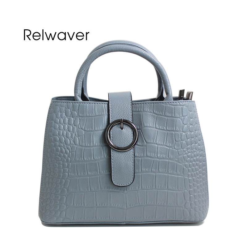 Relwaver women genuine leather handbags blue crocodile pattern cow leather tote bag small hasp top handle shoulder crossbody bag metallic hasp pu leather tote bag