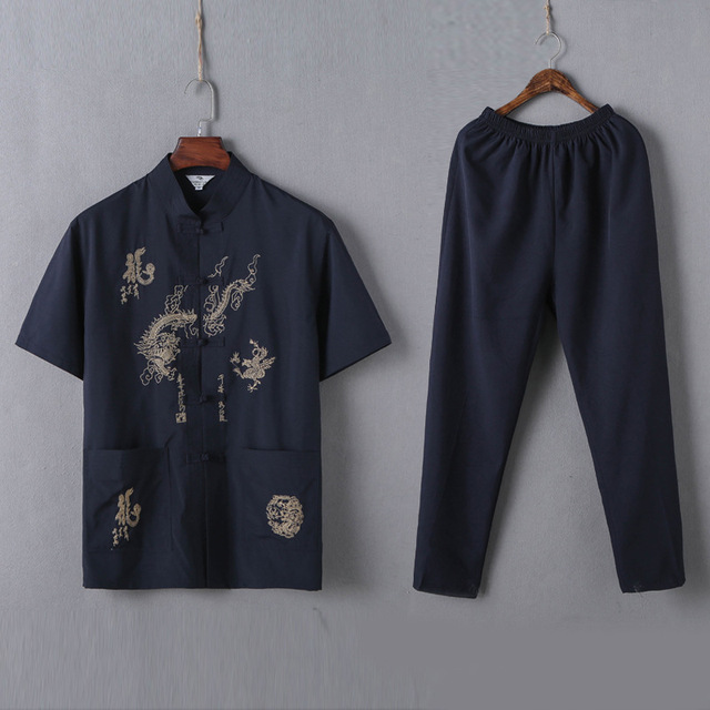 Casual Mandarin Collar Short Sleeve Shirt&Pant For Men Oriental Male Dragon Tang Suit Chinese Traditional Kung Fu Clothing