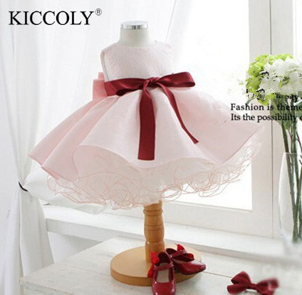 2016 rosa tutu vestidos infantis bebê meninas primeira comunhão pageant vestidos de festa de casamento para 1 ano tollder menina roupas