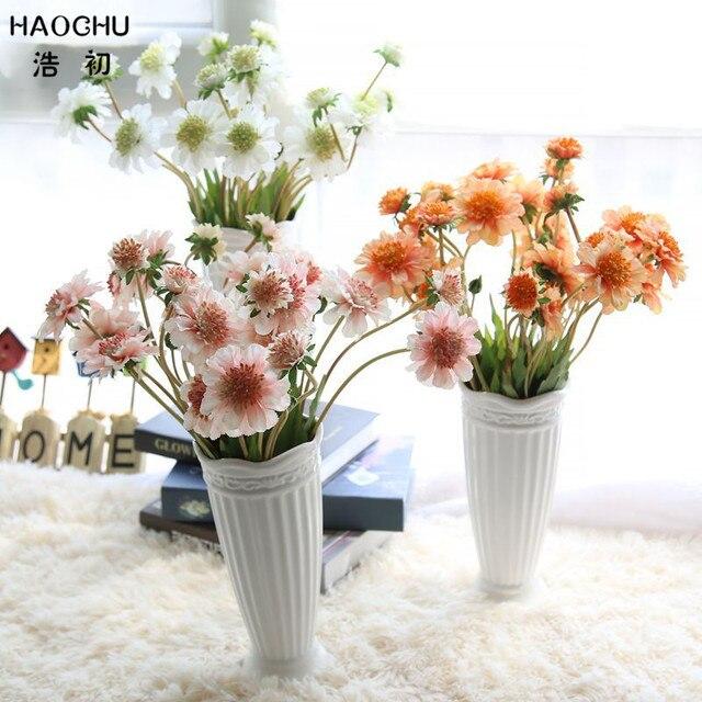 HAOCHU 2pcs Pretty Pinwheel Orchid Artificial Flower Succulent Plants  Living Room Decor Outdoor Garden Arrange Wedding Supplies