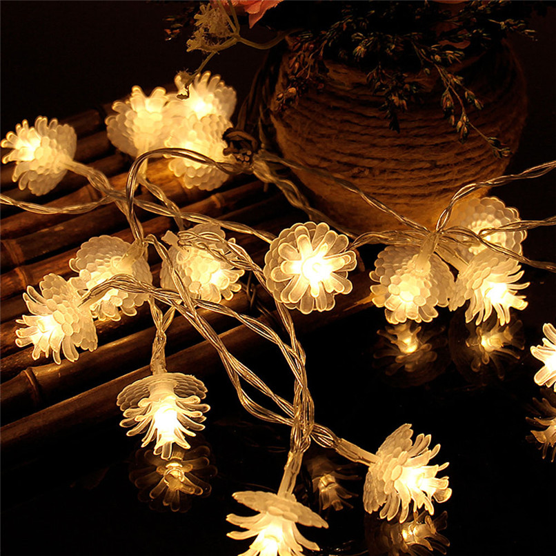 Lighting Strings Analytical Holiday Lighting 2m 20led Pine Cones Battery Box Light String Party Wedding Decor Lights Drop Ship 30ap0
