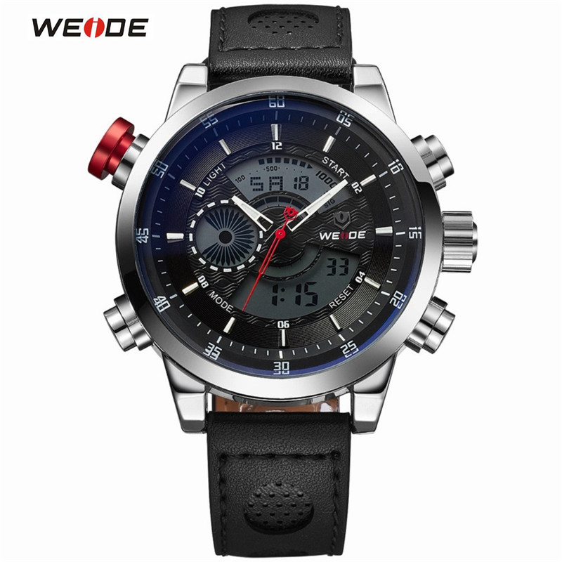 WEIDE Genuine Leather Watches Men Quartz Digital Fashion Military Casual Sports Watch Luxury Brand Waterproof Outdoor Wristwatch weide new men quartz casual watch army military sports watch waterproof back light men watches alarm clock multiple time zone