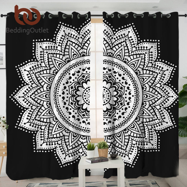 Beddingoutlet Mandala Living Room Curtains Black And White Curtain For Bedroom Window Treatment D A B Style Home Decoration
