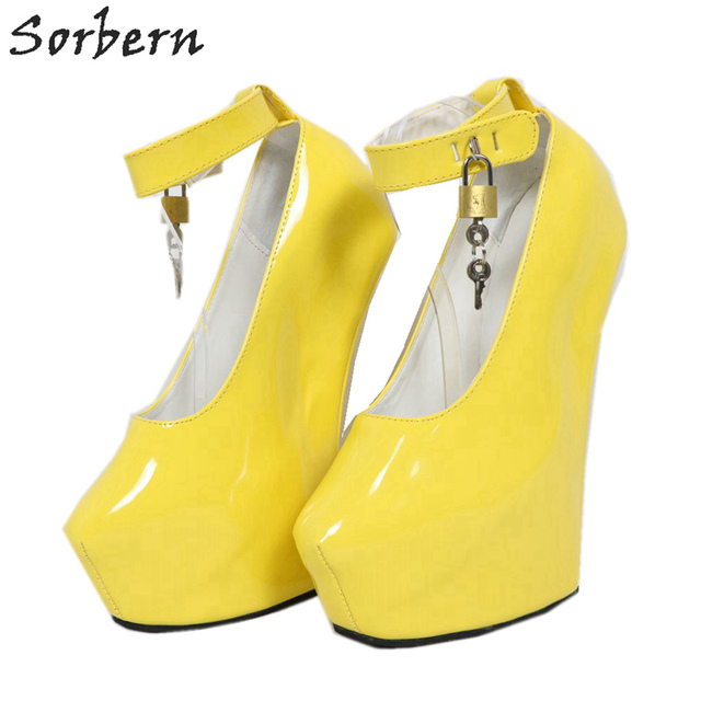 9a151094e47c Sorbern Heelless Wedge Pumps Thick Heels Fetish High Heel Shoes Women Ankle  Strap Lockable Platform Heels Plus Size Runaway