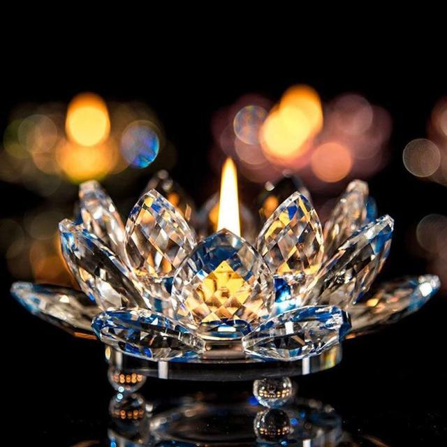 7 Colors Crystal Glass Lotus Flower Candle Holder Tea Light Holder Buddhist Candlestick holder decorative Party Wedding 5O1207 3
