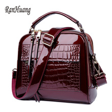 RanHuang Women Luxury Handbags Fashion Alligator Handbags High Quality Patent Leather Shoulder Bags Ladies Black Messenger Bags