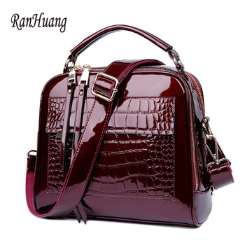 RanHuang Women Luxury Handbags Fashion Alligator High Quality Patent Leather Shoulder Bags Ladies Black Messenger