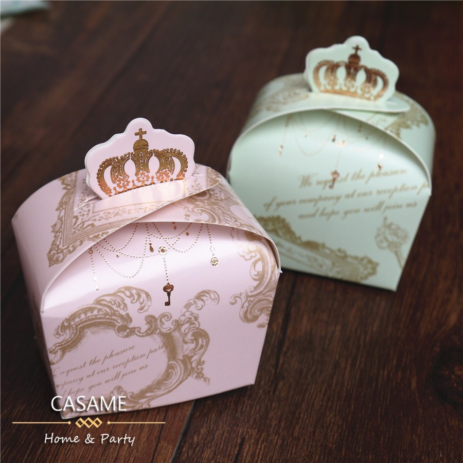 10 Pcs Paper Box Favor Gift  Royal Crown Boxes Baby Shower  Gender Reveal Candy Packaging Wedding Boxes Pincess