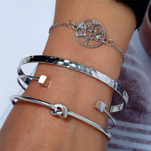 2019 4pcs/Set Retro Female Bead Round Gem Chain Multilayer Silver Bracelet Set For Women Bangle Exquisite Party Clothing Jewelry
