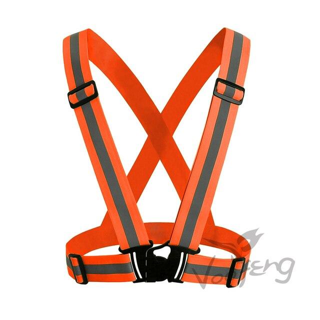 Fluorescent yellow & Fluorescent orange Reflective elastic webbing belt High visibility heat transfer tape free shipping