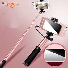Universal Wired Mini Selfie Stick With Button Stainless Steel Self-Timer Handle Monopod With Mirror For iPhone 6s Samsung Xiaomi