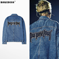 Justin Bieber Purpose Tour Denim Jackets Men Fear of God Hip Hop Streetwear Water Wash Denim Coats Women FOG Jeans Jackets TC405