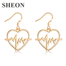 SHEON Trendy Heart Earrings Personalized Fresh Love ECG Heartbeat Drop for Women Fashion Jewelry New Arrival