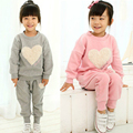 2015 Hot Sale Girls suits t-shirt + pants suit pink love heart-shaped gray Kids clothes Leisure sports suit Free Shipping