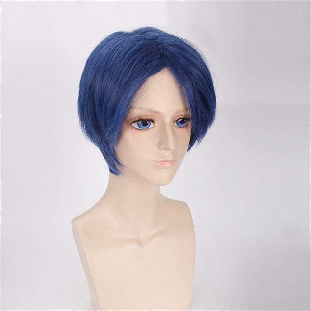d06113d7b cosplay ONLINE Kashima Yu Short Blue Mens Wig Cosplay Synthetic Anime Hair  For Costume Party 30cm купить на AliExpress