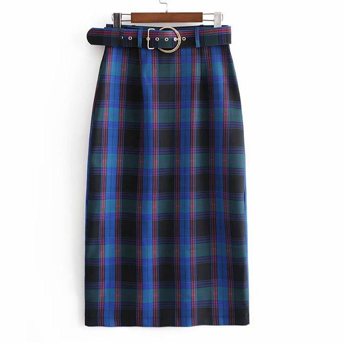 Women Plaid Skirt With Sashes Plus Size Female Straight Skirts Jupe Femme Faldas Mujer Moda 2019 Clothes