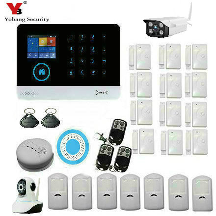 YoBang Security WiFi GSM Anti-theft Alarm System IOS Android Application Control Detector Sensor Touch Keyboard House Alarm.