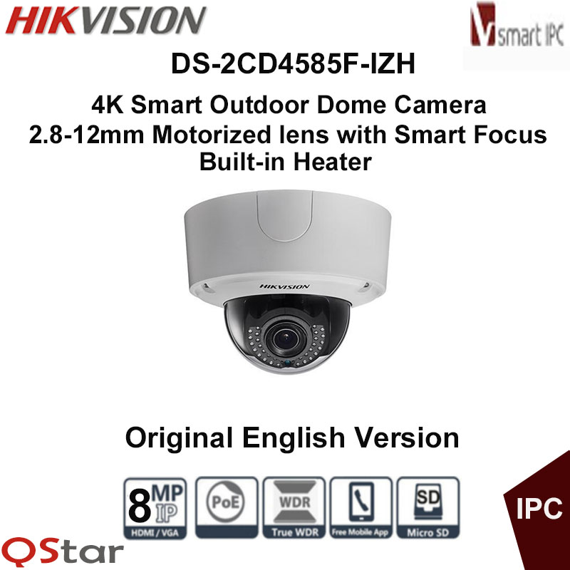 Hikvision Original English Vesion DS-2CD4585F-IZH 8MP POE 4K Smart Outdoor Dome Camera Heater Audio/Alarm IO CCTV Camera touchstone teacher s edition 4 with audio cd