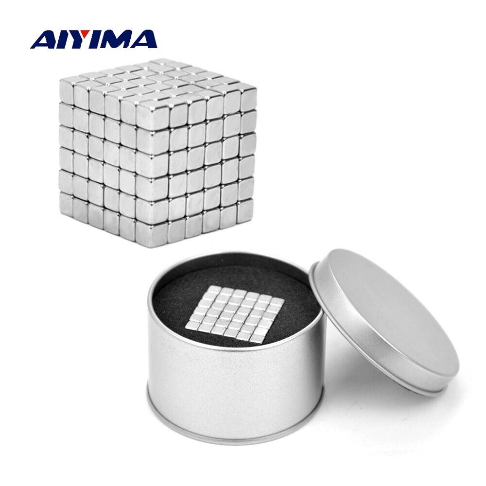 Aiyima 216 piezas 5*5*5mm cuadrado magnético de neodimio NdFeB imanes DIY Buck cubos neos Puzzle imanes