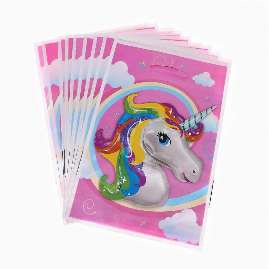 Unicorn Doğum Günü Partisi Malzemeleri Pembe Unicorn Afiş Levha Balon Peçete Cupcake Bebek Duş Ev Dekorasyon Kızlar için