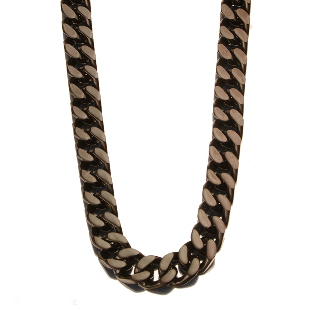 Top Sale Stainless Steel Black Color New Fashion Cuban Curb Chain Men's Boy's Daily Jewelry Necklace Or Bracelet 15mm 7-40inch