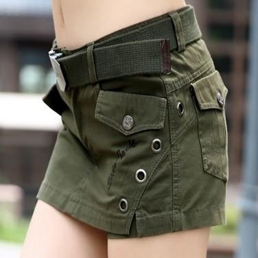Nouveauté 2019 botte coupe jeans slim hanche décontracté Camouflage shorts culottes femme armée vert multi-poches shorts salopette