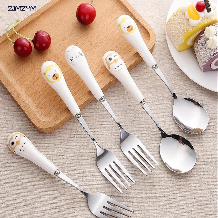1pc Cartoon Cute Cat Fork Stainless Steel Long Handle Stirring Spoon Fruit Fork Coffee Spoon Ceramic Handle