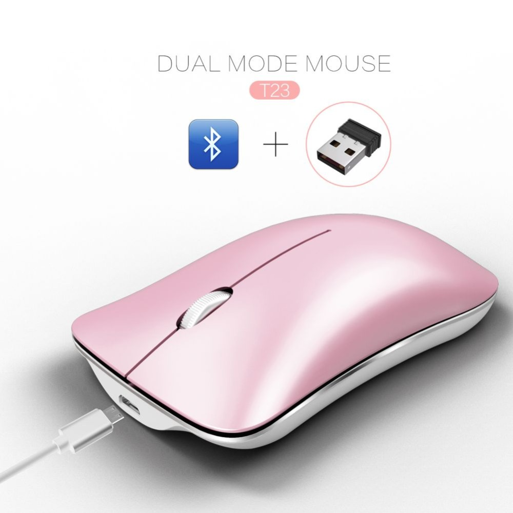 Portable Wireless Keyboard Mouse for Bluetooth 4.0, USB 2.4 Silent Rechargeable Laptop Desktop Computer Mice