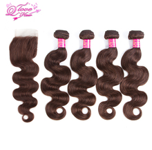 Queen Love Hair Human Hair Bundles With Closure #4 Free Part Body Wave Malaysia Hair Weave 4 Bundles With Lace Closure Non Remy