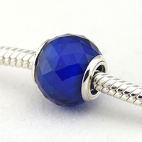 Geometric Facets Silver Charm With Royal Blue Crystal 925 Sterling Silver Thread Murano Glass Beads Fits Pandora Bracelet