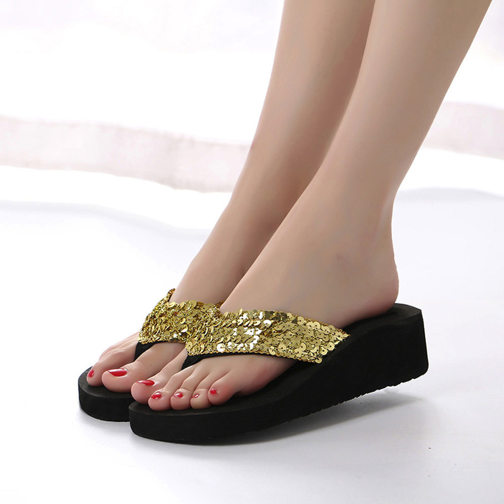 HTB1tF93cLWG3KVjSZFgq6zTspXat Summer Women Flip Flops Casual Sequins Anti-Slip slippers Beach Flip Flat Sandals Beach Open Toe Shoes For Ladies Shoes #L5