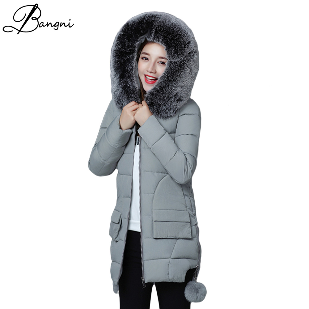 2017 New Women Long Winter Jacket Plus Size Warm Cotton Coat Pure Color Hooded Fur Collar Female Parkas Wadded Outerwear Female 2017 new hot women cotton coat plus size wadded winter jacket long parkas female fur collar thick warm hooded outerwear 5l73