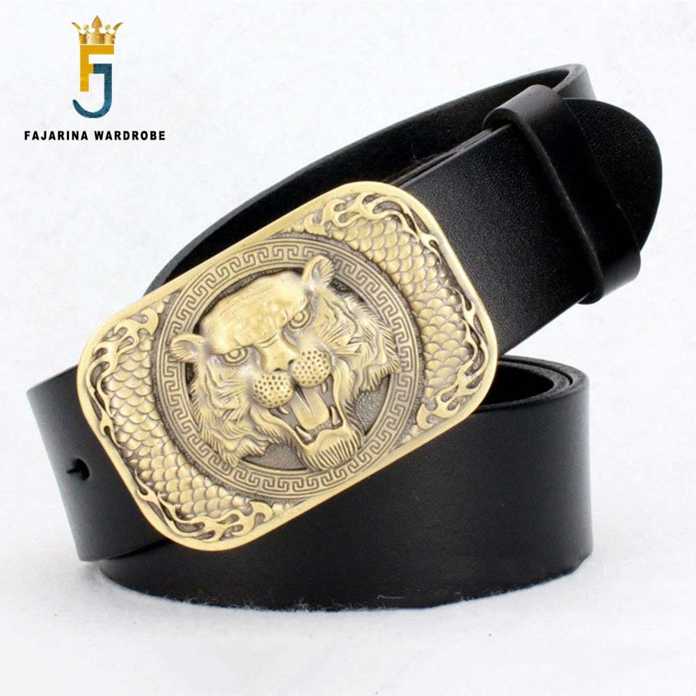FAJARINA Mens Designer Mens Tiger Head Face Pattern Men s Brass Smooth Buckle Man Belts Cowskin