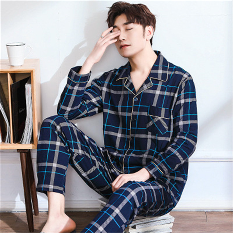 2019 Summer New Plus Size Men Casual Plaid Pajama Sets Male 100%cotton Sleepwear Suit Mens Turn-down Collar Shirt & Half Pants Men's Pajama Sets