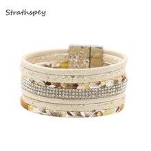 Multi-layer Floral Wrap Bracelets For Women Bohemia Rhinestone Wide Leather Bracelet Vintage Magnetic Charm Bangles Jewelry
