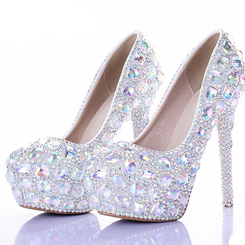 ff4bc465378 2018 Silver AB Crystal Diamond Exquisite Wedding Shoes Sparkling Rhinestone Bridal  Shoes Evening Prom Party Women Pumps Size 11-in Women s Pumps from Shoes ...