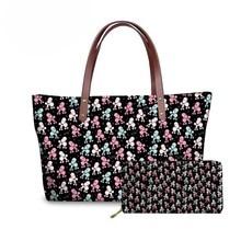 NOISYDESIGNS 2pcs/Set Women Handbags Poodle Printing Shoulder Messenger Bags for Females Travel Hand Bag Ladies Top-Handle