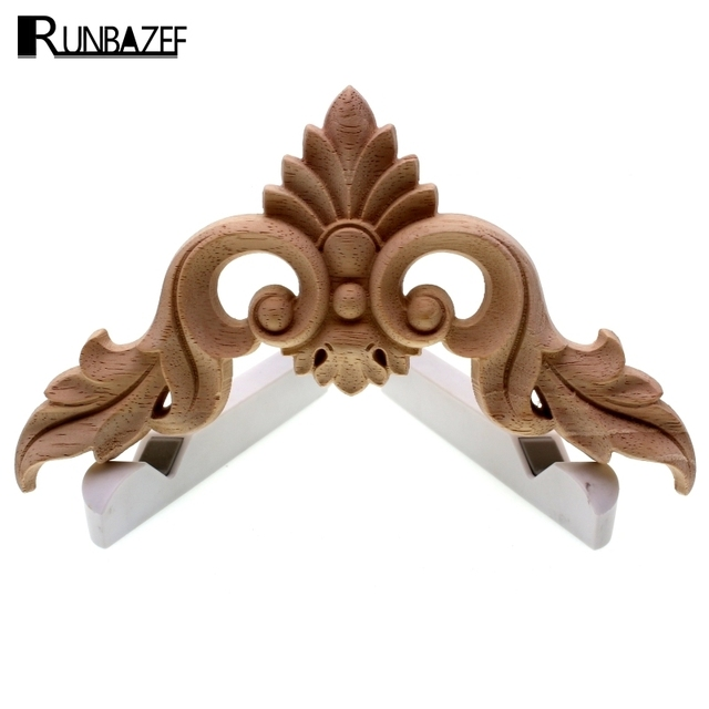 RUNBAZEF Wood Carving  Flower of European Furniture Door Small Home Decoration Crafts Figurines Miniatures Accessories 1