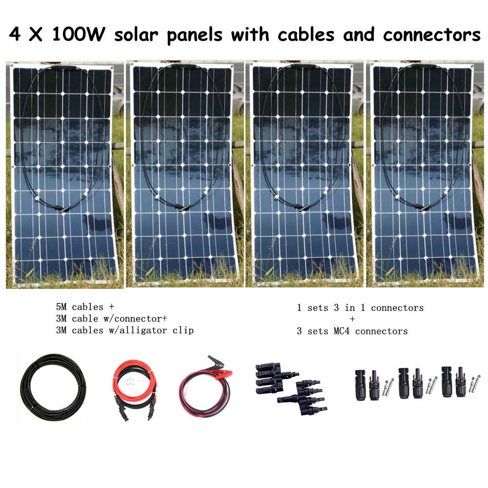 4*100W Solar Panel with Cables + 1Pair 3 in 1 Connectors +3 Pair MC4 Connectors 400W Solar System for Household