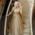 Dubai Champagne Muslim Wedding Dresses Long Sleeve Abaya Dubai Women Formal Dresses Turkish Islamic Clothing 2016 Custom Made