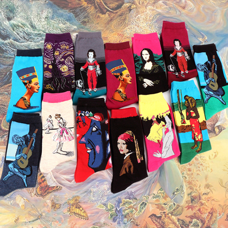 Starry Night Short   Socks   Funny Happy Retro Art Painting Character Pattern for Women Men Harajuku Van Gogh   Socks   Sox Calcetines