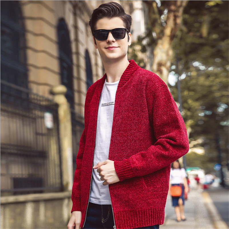Brillant Männer Pullover Strickjacke Herbst Winter Jacke Warme Cashmere Zipper Fleece Mode Strickjacken Männlichen Chenille Pullover Mantel
