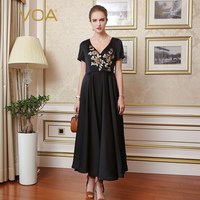 VOA Silk Black Women Brief Elegant Party Dresses Maxi Vintage V Neck Short Sleeves Pleated Mujeres