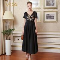 VOA вышивка черный шелк платье для вечерние элегантный макси длинные платья Винтаж V образным вырезом Осень короткий рукав Плиссированное