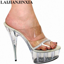 LAIJIANJINXIA Clear Stripper Shoes 15cm High-Heeled Shoes 6 Inch PVC Sexy Crystal Slippers Fashion Women's Shoes Dance Shoes